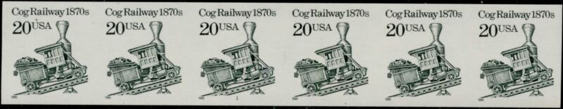 """#2463a """"cog Railway"""" Imperf, Strip With Plate #1 Bq1250"""