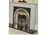 Cast iron fireplace (with grate, living flame gas insert and marble hearth)