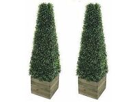 Twin Artificial Trees 3ft Pyramid Cones in wooden box stand - Indoor / outdoor artificial trees