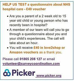 HELP US TEST a questionnaire about NHS hospital care – £40 voucher