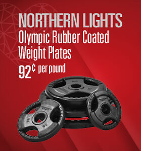 .92 CENTS PER LB. HEX DUMBELLS AND PLATES IN STOCK !!!
