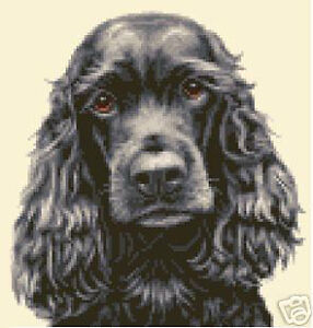 BLACK COCKER SPANIEL dog FULL counted cross stitch kit