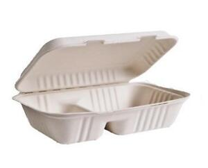Sugarcane Take Out Containers, 9 x 6 x 3, 2 Compartments, 50 pcs
