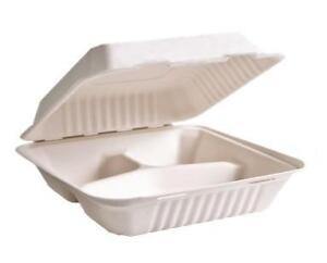 "Sugarcane Take Out Containers, 9"" x 9"" x 3"", 3 Compartments, 50 pcs"