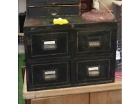 Vintage Original 1930s Industrial Metal 4 Drawer Index Filing Cabinet Railway