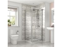 Bathroom Square Pivot Semi Frameless Shower Enclosure - Chrome 800 x 800mm-new