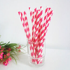 25pcs More Colors PAPER DRINKING STRAWS BIODEGRADABLE STRIPED WEDDING PARTY