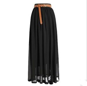 New Women Elegant Chiffon Pleated Retro Long Dress Elastic Waist Band Skirt