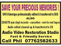 SAVE YOUR PRECIOUS VIDEO & AUDIO MEMORIES - VHS to DVD and audio to CD !