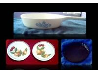 PYROSIL PAN/PAIR OF MELAMINE POT STANDS/PYREX FLAN DISH - 4 ITEMS - FOR SALE