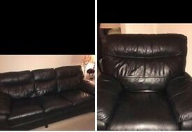 DFS black leather sofa and recliner