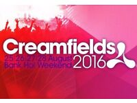 2x 3 days Creamfields Festival Camping Ticket for Sale