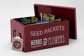 Burgon & Ball metal seed burgundy box