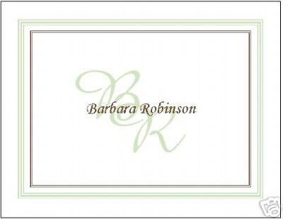 Charming Initials Personalized Note Cards~Green/Brown