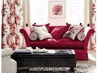 Laura Ashley Langham upholstered 2-seater sofa in cranberry velvet