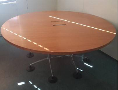 WHITE ROUND TABLE Office Conference Desk Study Pedestal Cabinet - Round pedestal conference table