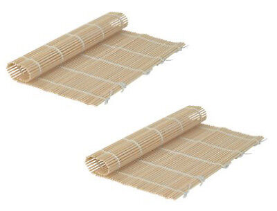 Set Of 2 Japanese Style Sushi Roll Maker Bamboo Rolling Roller Mat Preparation
