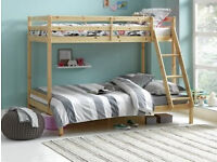 Kaycie Single and Double Bunk Bed Frame - Pine