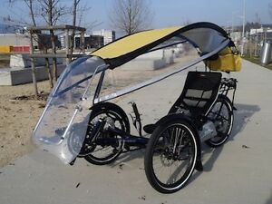 Veltop retractable roof and windshield for recumbent trikes