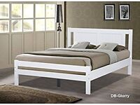 SINGLE size 3ft white wooden bed with headboard - BRAND NEW IN BOX