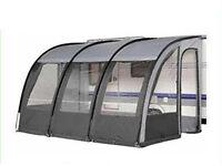 Prestina 390 XL Caravan/Motorhome Awning/Porch Charcoal, carpet and caravan draft skirt.