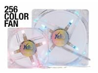 New and Boxed: 12 x 256 Colour LED 120mm Fans with Fan Controllers and Remote
