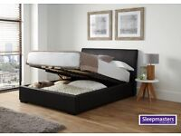 King Size Charcoal Grey Upholstered Ottoman Bed Frame and Mattress