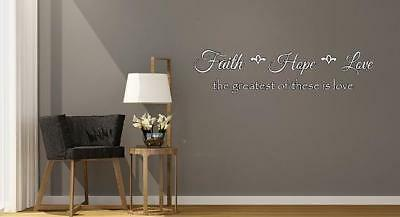 Faith hope love Bible verse/Inspirational vinyl wall decal/Fancy script wall art