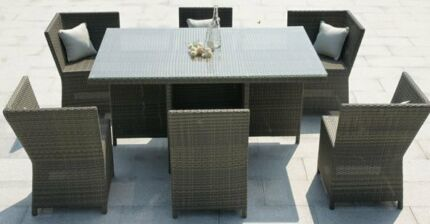 BRAND NEW 6 SEATER OUTDOOR DINING TABLE WITH GLASS TOP Maroubra Eastern Suburbs Preview