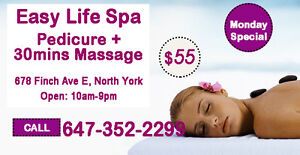 Special Pedicure and 30 mins body massage only $55
