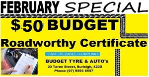 $50 BUDGET ROADWORTHY CERTIFICATES BURLEIGH Burleigh Heads Gold Coast South Preview