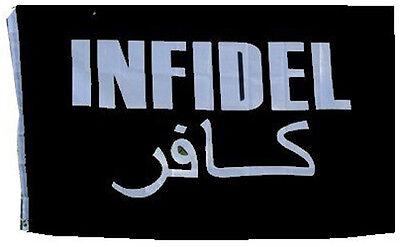 Infidel Flag 3x5 Ft White On Black Arabic & English Veteran Vet Iraq Afghanistan