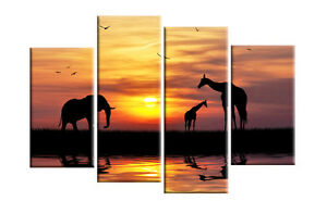 EXTRA LARGE AFRICAN SUNSET SPLIT CANVAS ART PICTURE (No Frames)