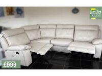 Designer Cream leather 4 piece corner sofa (343) £999
