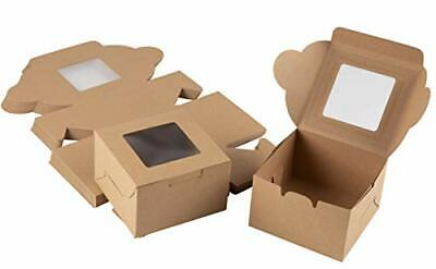 Cake Box – 50 Pack Disposable Pastry Box, Kraft Paper Bakery Box with Display