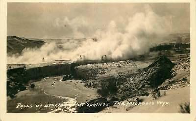 Real Photo Postcard Falls of Big Horse Hot Springs, Thermopolis, Wyoming ca 1930