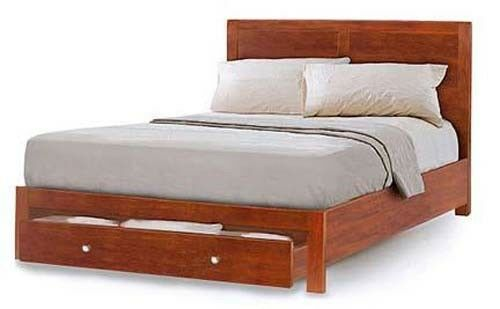 American Contemporary Queen or King Bed with Drawer, Furniture Woodworking Plans