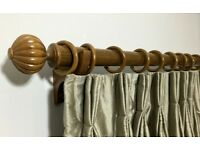 High Quality Designer Solid Wood Curtain Poles in Polished Wall nut finish