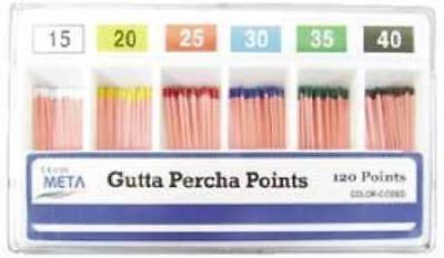 Meta Gutta Percha Points 25 Iso Sized Vialls Box Of 120 Dental