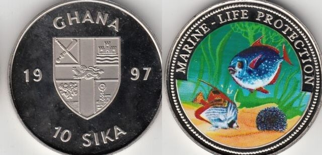 1997 Ghana Large Color Proof  10 Sika-Tropical fish