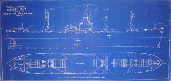 "WW2 Liberty Ship Blueprint Plans 1941 2 sheets 15""x 30""  (99)"
