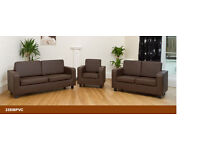 BRAND NEW 3+2 AND 1 SEATER LEATHER SOFA SUTE AVAILABLE IN BLACK/BROW