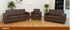 SALE STILL ON - BRAND NEW PU LEATHER 3 + 2 SEATER SOFA SETTEE IN BLACK AND BROWN COLOR SUITE