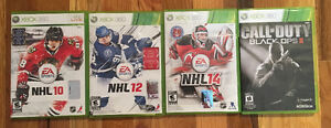 XBOX 360 games:NHL 10, NHL 12, NHL 14, Call of Duty black Ops 2