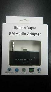 8 Pin to 30 Pin FM Transmitter Audio Adapter for iPhone 5