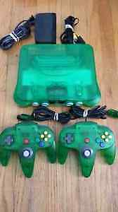 N64 Jungle Green System 2 Jungle Green Controllers
