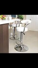 x2 white faux leather bar stools