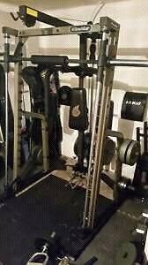 Nautilus Olympic Caged squat rack + Olympic plates