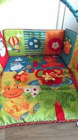 jungle theme play mat /play gym from birth with arch and soft toys. Collection from Langley Moor.