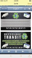 Recyclage Transit 514-572-9311 MONTREAL -WEST ISLAND -LAVAL